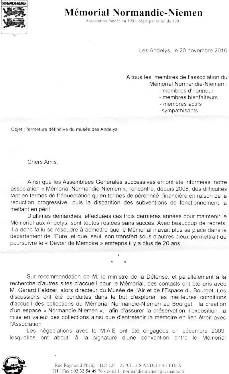 Fermeture et transfert du musée des Andelys Lettre10