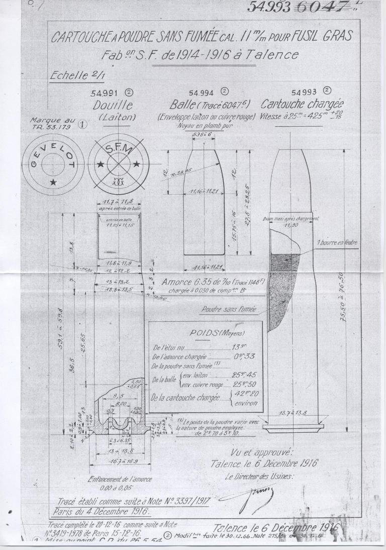 Cartouche à balle blindée de fusil Gras. 14554710
