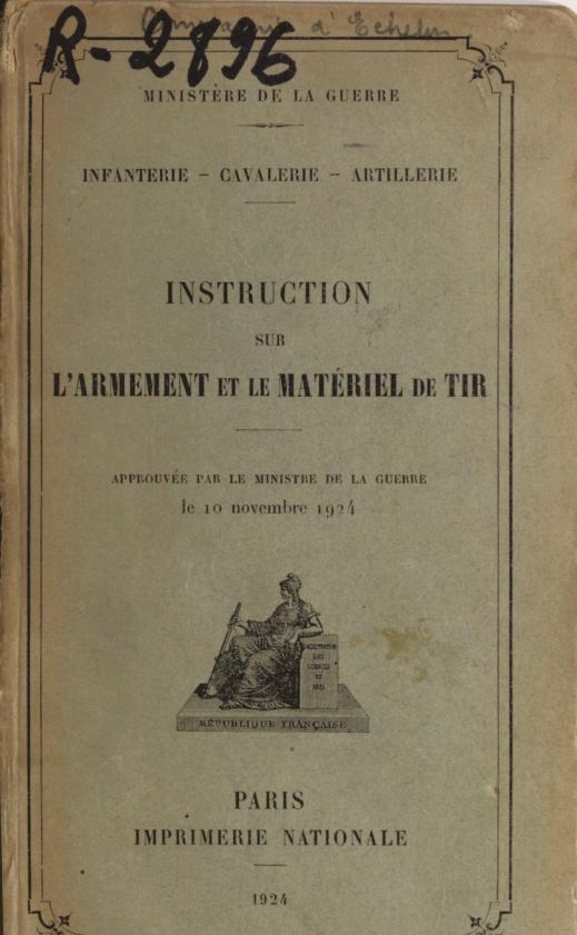 Instruction sur les armes et les munitions en service - Texte et planches - 1905 - France 2021-010