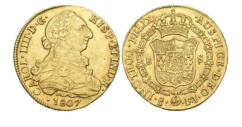 8 escudos 1807. Carlos IV (busto Carlos III). Santiago de Chile. Ayuda Descar10