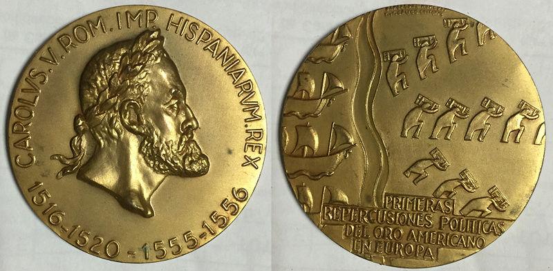 Medalla Carolus V ROM . IMP . HISPANIARUM . REX 1516-1520-1555-1556. Primeras Repercusiones Politicas del Oro Americano en Europa . Barcelona MCMLXVI . X. y . F Calico Editores  Medall11
