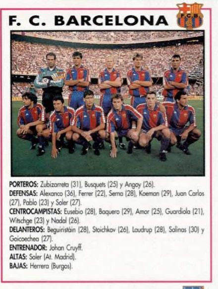 TEMPORADA 1992-1993 FC BARCELONA Celta19