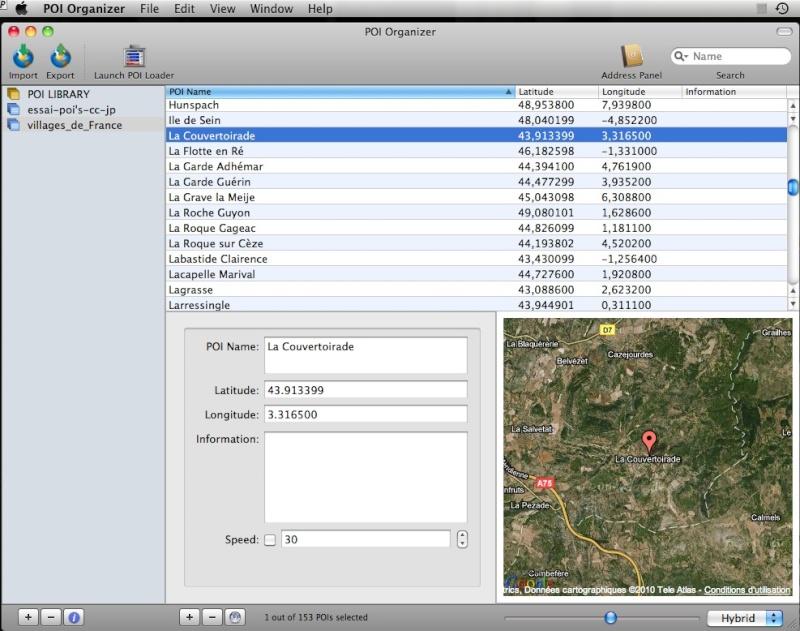 POI Organizer 1.2.2 pour Mac OSX Captur23