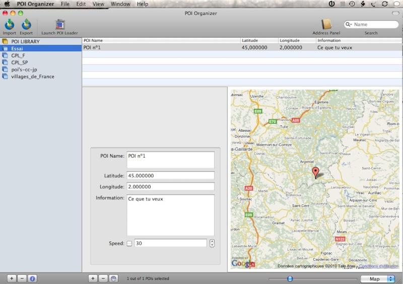 POI Organizer 1.2.2 pour Mac OSX Captur43