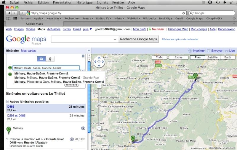 Itinéraire Google Maps sous Safari (Mac) et transfert sur GPS  Captur80