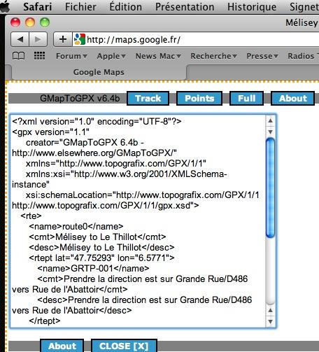 Itinéraire Google Maps sous Safari (Mac) et transfert sur GPS  Captur82