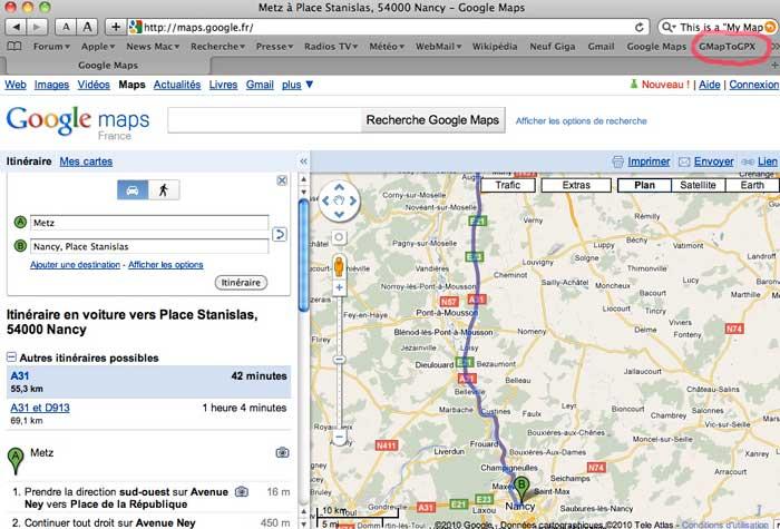Itinéraire Google Maps sous Safari (Mac) et transfert sur GPS  Captur87