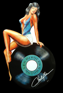 Achat  PIN-UP DISQUES MOTORS CHRISTOPHE - PLAQUE METAL DETOUREE Pin-up13