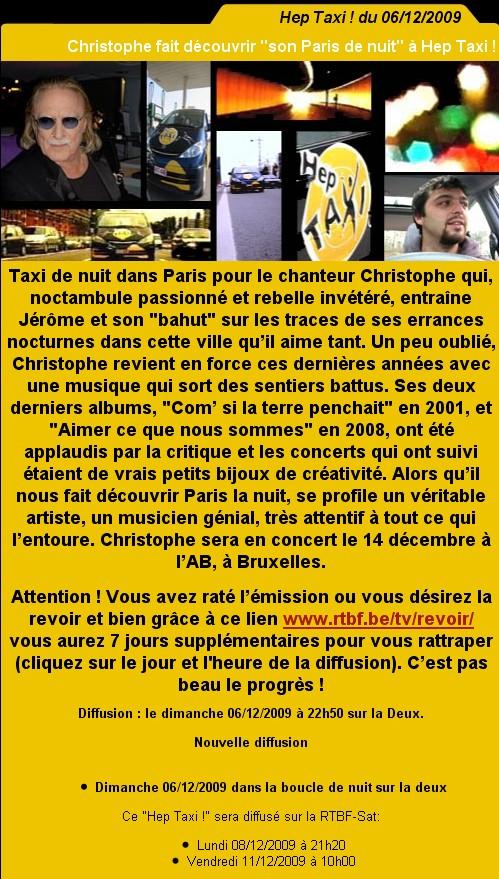 Vidéo : Christophe fait découvrir 'son Paris de nuit' à Hep Taxi le 6 décembre sur La Deux Taxi_110