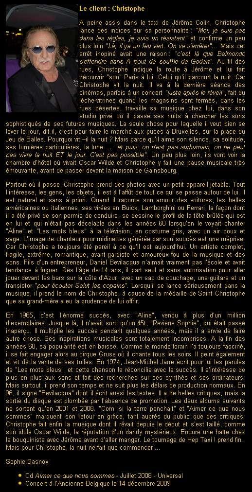 Vidéo : Christophe fait découvrir 'son Paris de nuit' à Hep Taxi le 6 décembre sur La Deux Taxi_210
