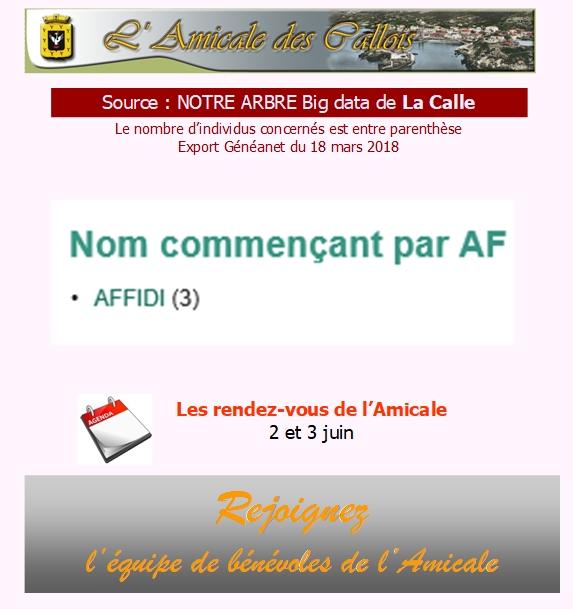 Les patronymes en lien avec La Calle commençant par A Af_com10