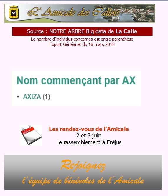 Les patronymes en lien avec La Calle commençant par A Ax_com10