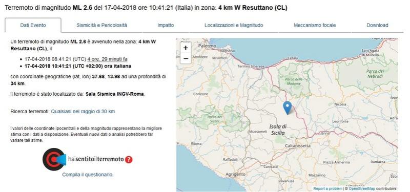 Debole scossa di terremoto a Resuttano Terrem16