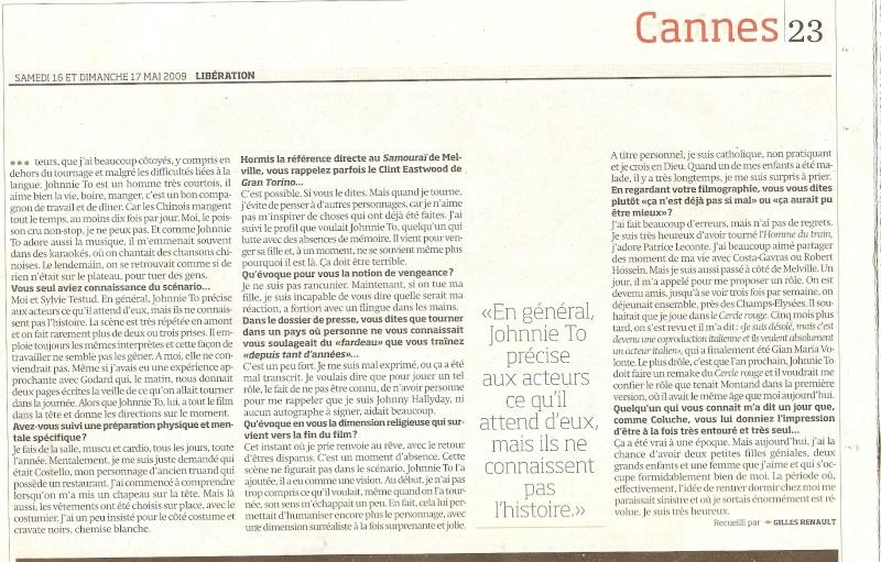 Johnny en couverture de Libération Numari57