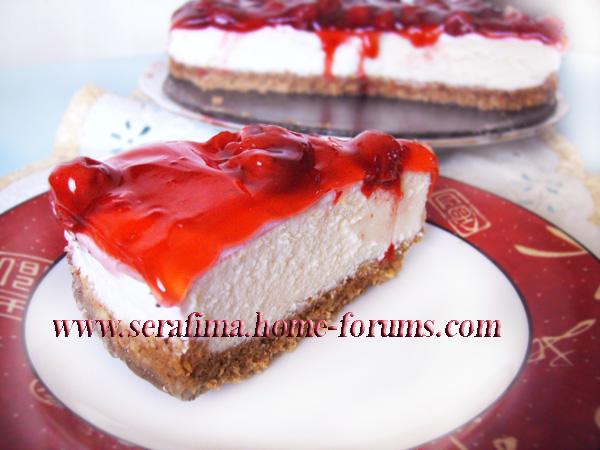 Вишнево-миндальный чизкейк. Cheese cake with cherry Imag0810