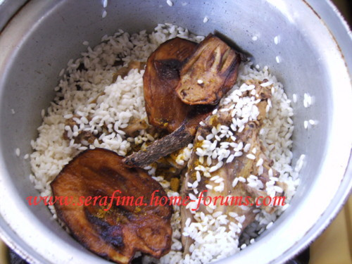 Маклюбе - Маклюбе (маглюбе) по-иордански (курица, баклажан, картофель, рис). Арабская кухня Imag0920
