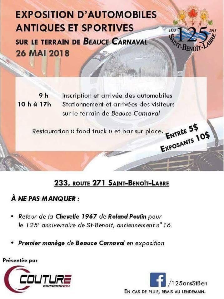 Exposition auto antique St-Benoit Labre en Beauce samedi le 26 mai 33396610