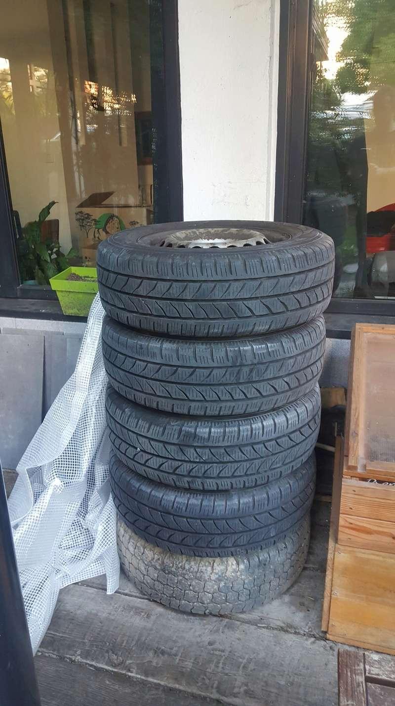 Vendu - 5 pneus neige + amortisseur Avant - Arriere 20180516