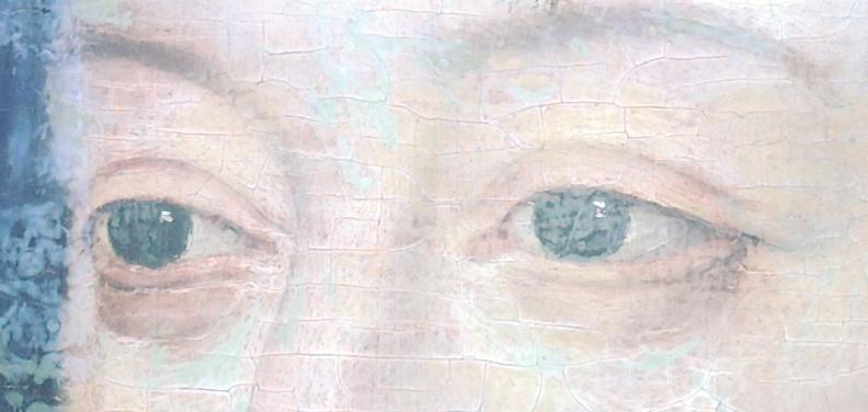 usure de la peinture en bordure des craquelures d'âge . (nettoyage, méthode, infrarouge, IR, dessin préparatoire, occasion) 110