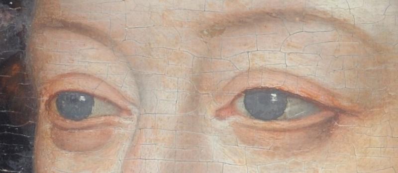 usure de la peinture en bordure des craquelures d'âge . (nettoyage, méthode, infrarouge, IR, dessin préparatoire, occasion) 210