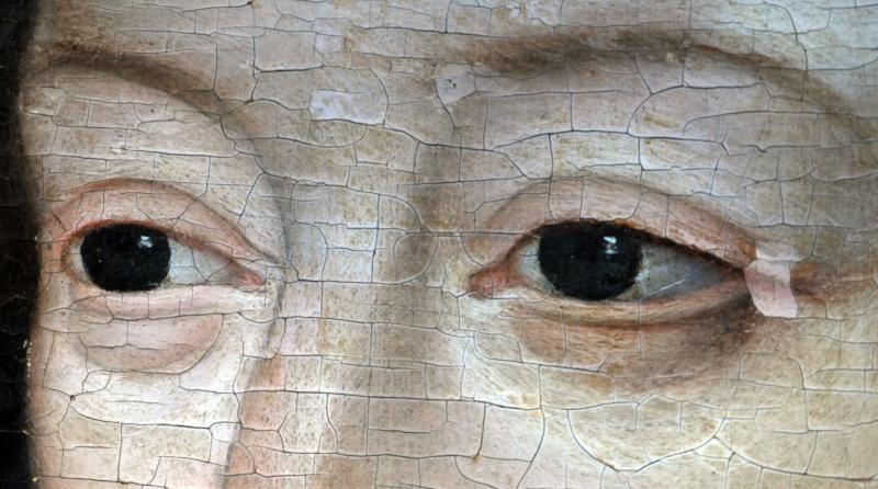 usure de la peinture en bordure des craquelures d'âge . (nettoyage, méthode, infrarouge, IR, dessin préparatoire, occasion) 310