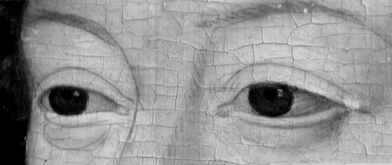 usure de la peinture en bordure des craquelures d'âge . (nettoyage, méthode, infrarouge, IR, dessin préparatoire, occasion) 510