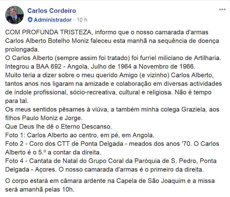Faleceu o veterano Carlos Alberto Botelho Moniz, Furriel Mil.º de Artilharia, da BAA692 - 03Nov2017 0010