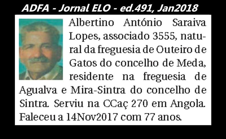 Notas de óbito publicadas no jornal «ELO», da ADFA, Janeiro e Fevereiro de 2018 Albert10
