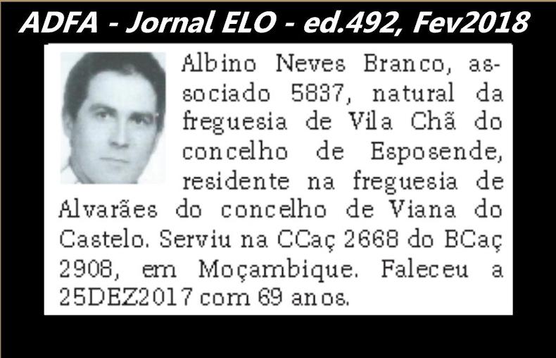 Notas de óbito publicadas no jornal «ELO», da ADFA, Janeiro e Fevereiro de 2018 Albino10
