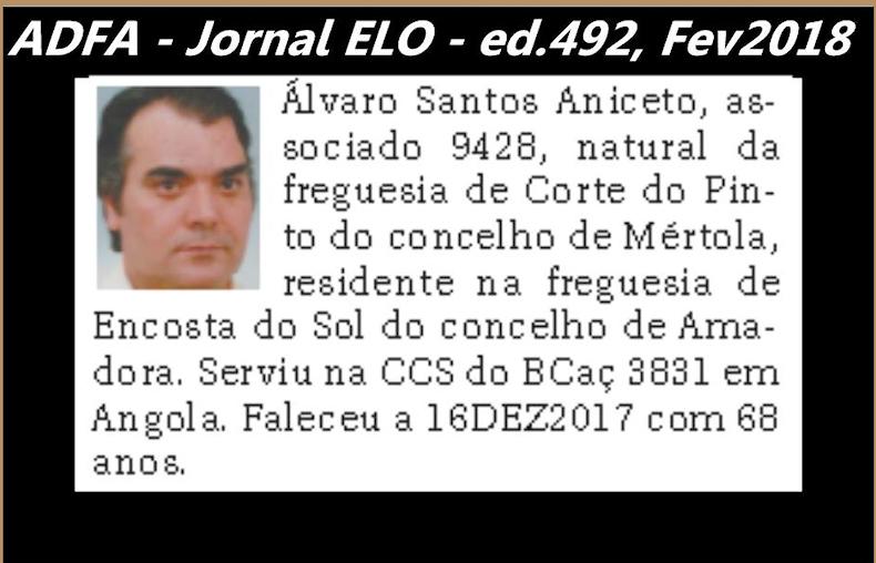 Notas de óbito publicadas no jornal «ELO», da ADFA, Janeiro e Fevereiro de 2018 Alvaro10