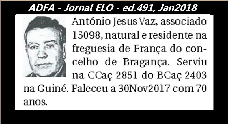 Notas de óbito publicadas no jornal «ELO», da ADFA, Janeiro e Fevereiro de 2018 Antoni14