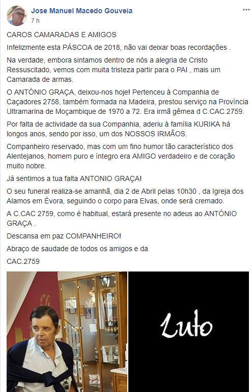 Faleceu o veterano António Graça, da CCac2758/BII19 - 01Abr2018 Antoni21
