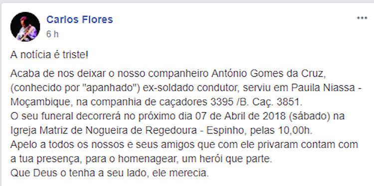 Faleceu o veterano António Gomes da Cruz, da CCac3395/BCac3851 - 06Abr2018 Antyni16