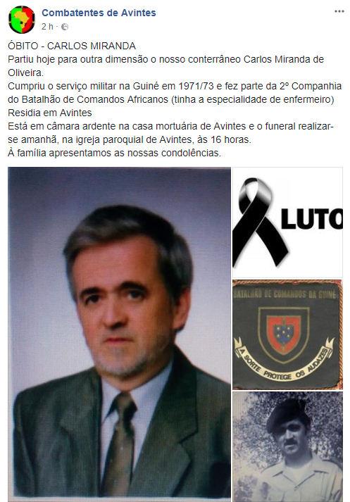 Faleceu o veterano Carlos Miranda de Oliveira, da 2ªCCmdsGuiné - 25Abr2018 Carlos13