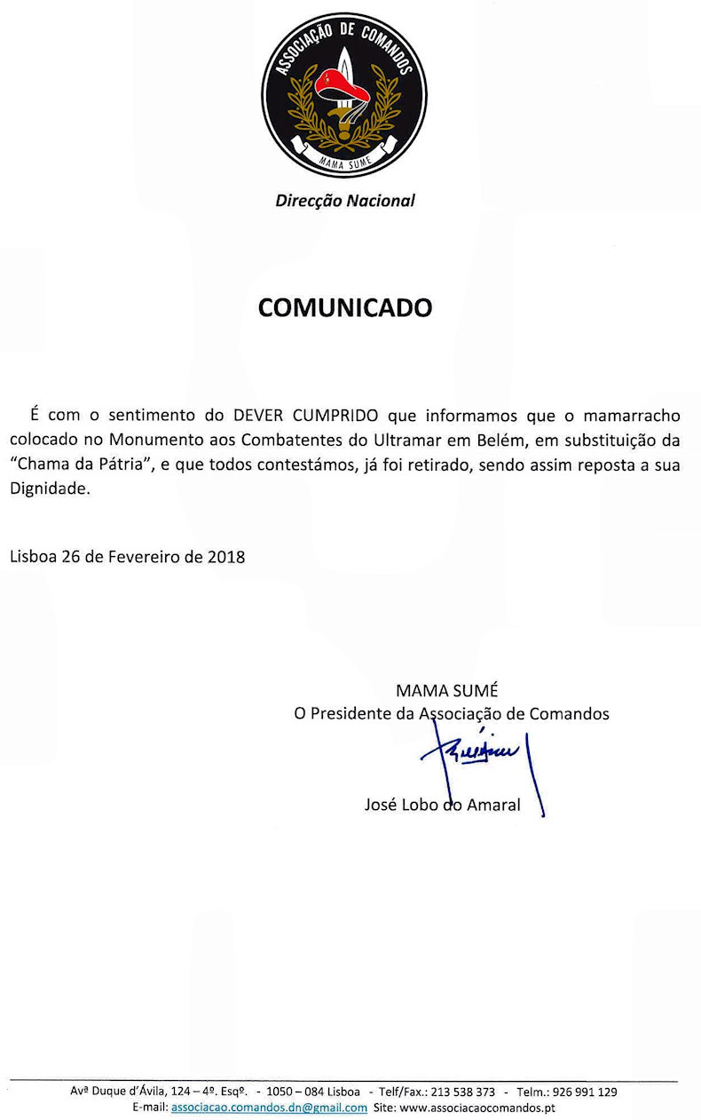 Pseudo Chama da Pátria, enxertada na base do Memorial Nacional Aos Combatentes do Ultramar Comuni10