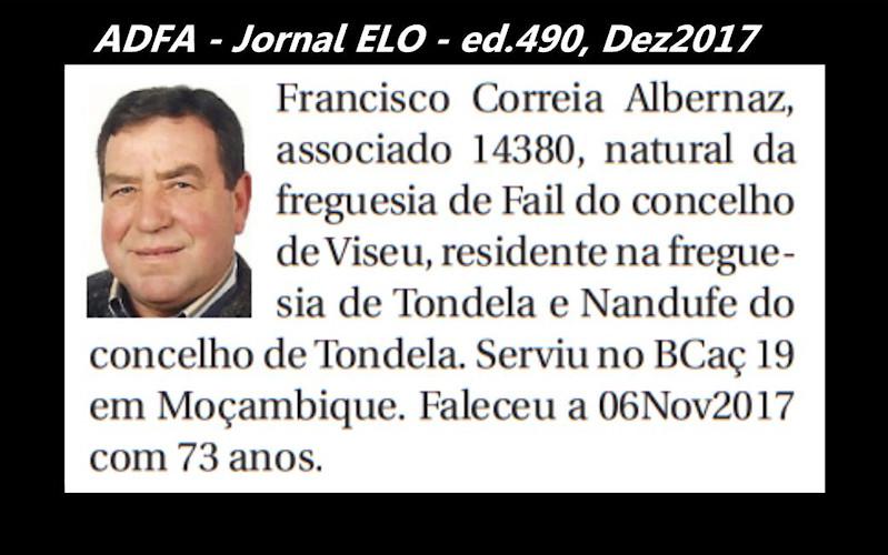 Notas de óbito publicadas no jornal «ELO», da ADFA, de Dezembro de 2017 Franci13