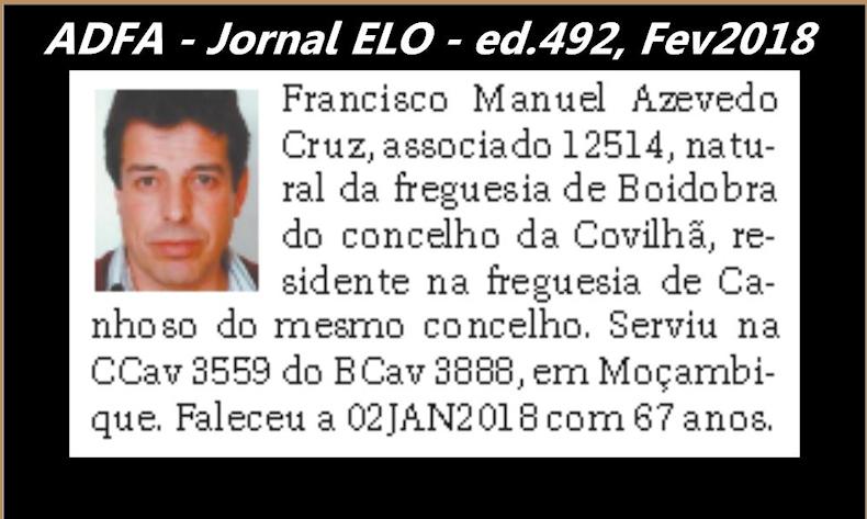 Notas de óbito publicadas no jornal «ELO», da ADFA, Janeiro e Fevereiro de 2018 Franci14