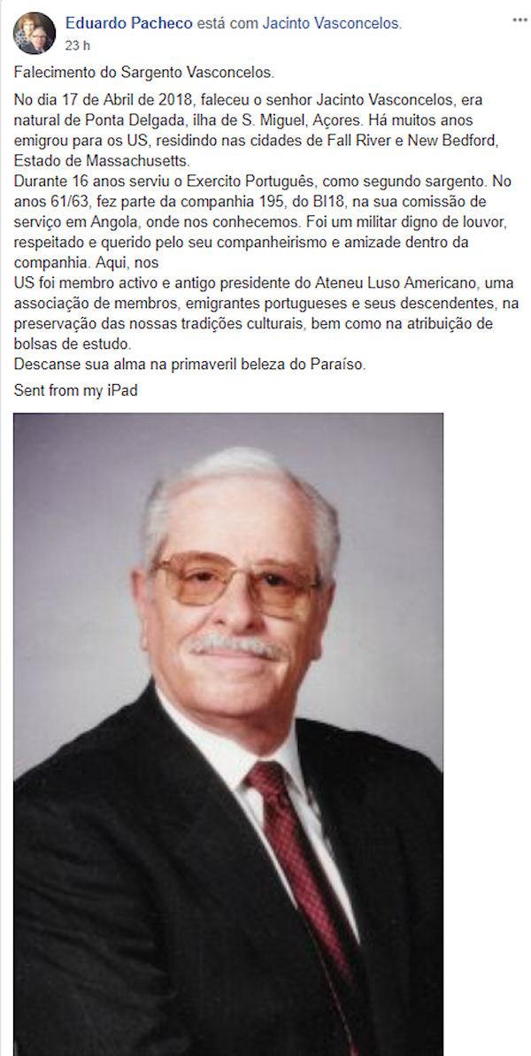 Faleceu o veterano Jacinto Vasconcelos, 2.º Sargento de Infantaria, da CCac195/BCac184 - 17Abr2018 Jacint11
