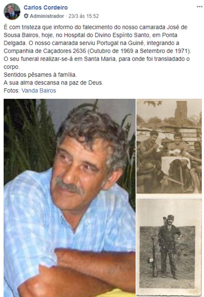 Faleceu o veterano José de Sousa Baitos, da CCac2636 - 23Mar2018 Josede10