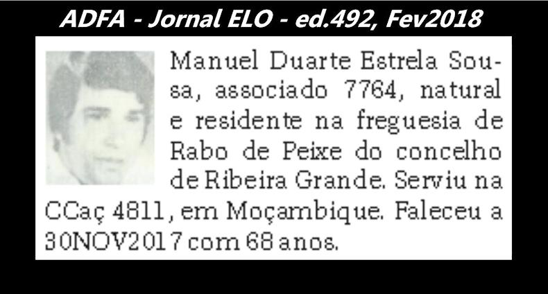 Notas de óbito publicadas no jornal «ELO», da ADFA, Janeiro e Fevereiro de 2018 Manuel13