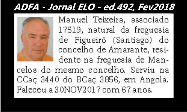 Notas de óbito publicadas no jornal «ELO», da ADFA, Janeiro e Fevereiro de 2018 Manuel14