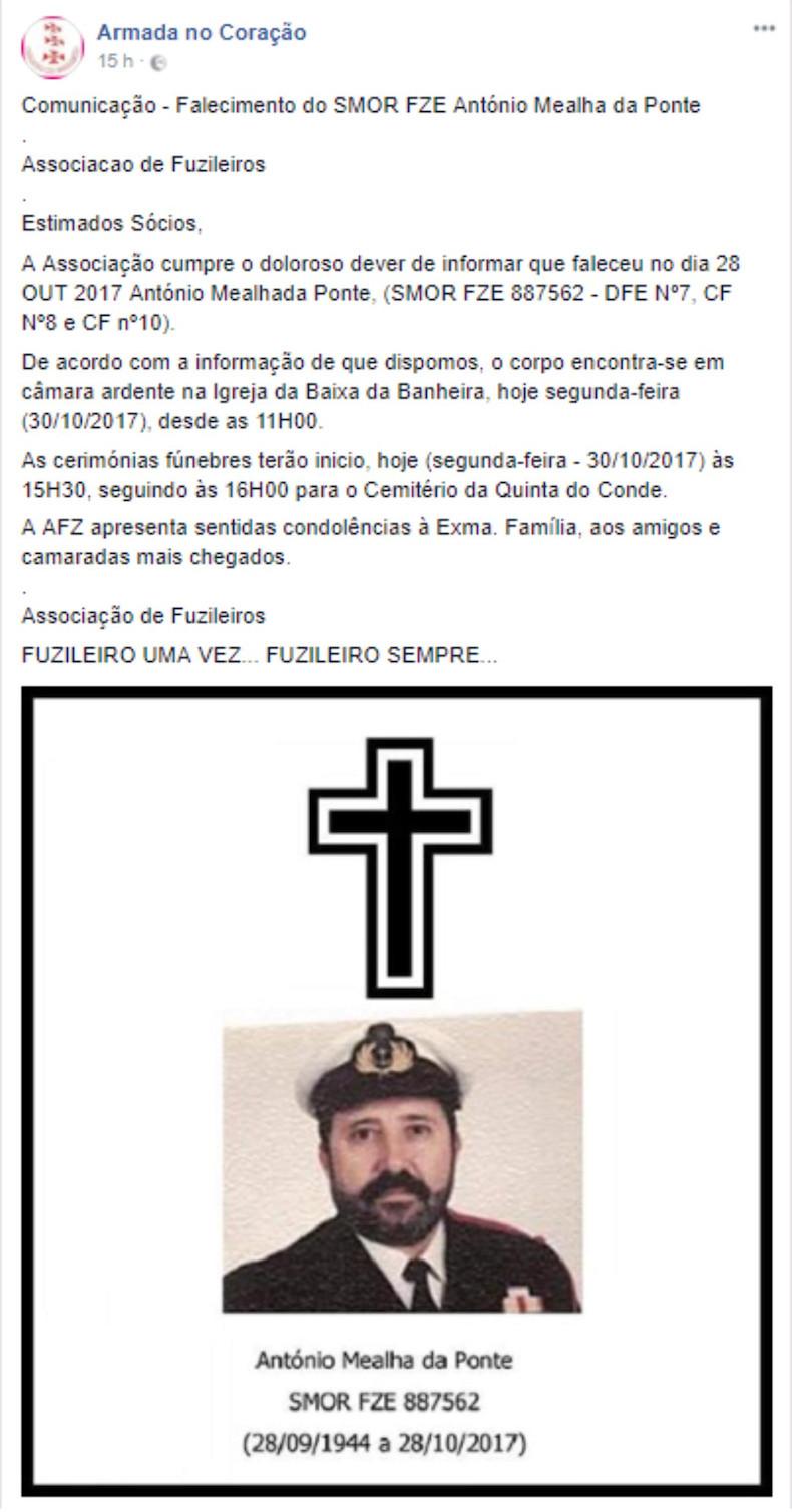 Faleceu o veterano António Mealha da Ponte, SMor FZE, DFE7, CF8 e CF10 - 28Out2017 Nota_d10