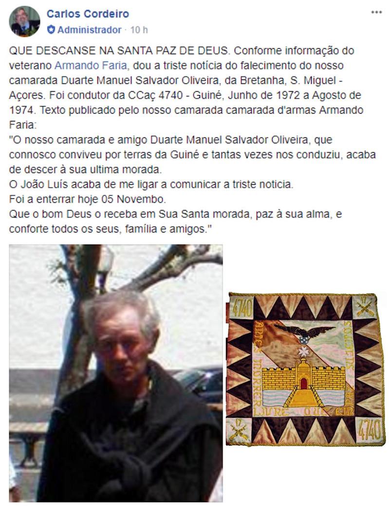 Faleceu o veterano Duarte Manuel Salvador Oliveira, Soldado Condutor Auto, CCac4740 - 04Out2017 Notici10