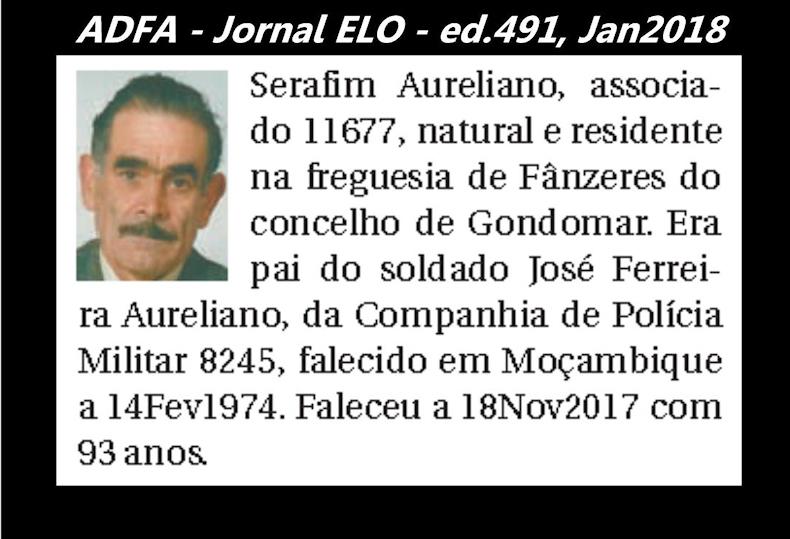 Notas de óbito publicadas no jornal «ELO», da ADFA, Janeiro e Fevereiro de 2018 Serafi10