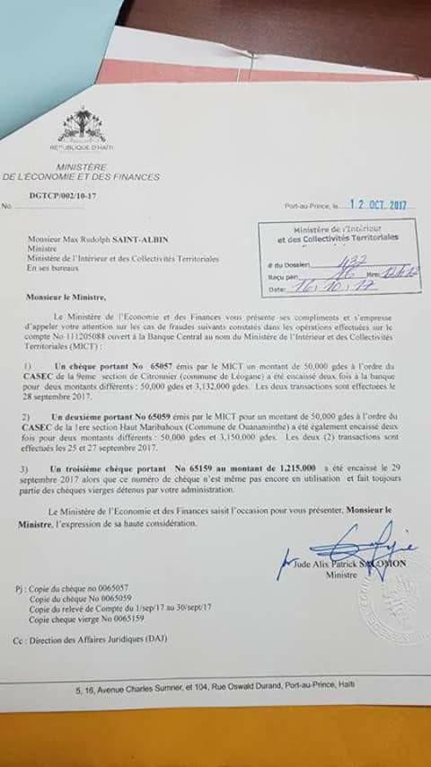Bare volo nan ministè de l'interieur d'Haiti  22539611