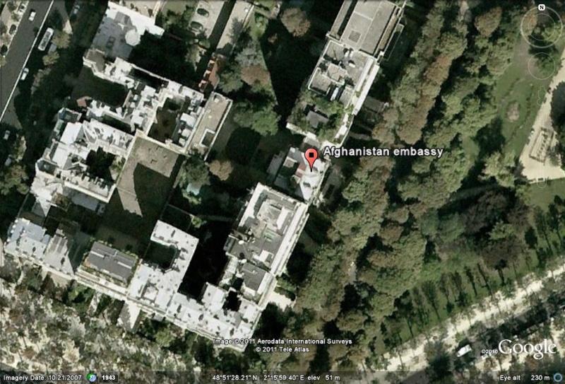 Les ambassades étrangères en France vues depuis Google Earth Afghan11