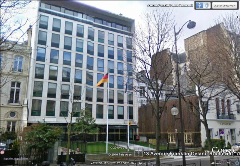 Les ambassades étrangères en France vues depuis Google Earth Allema10