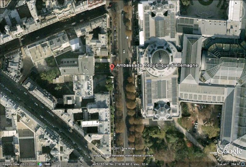Les ambassades étrangères en France vues depuis Google Earth Allema12