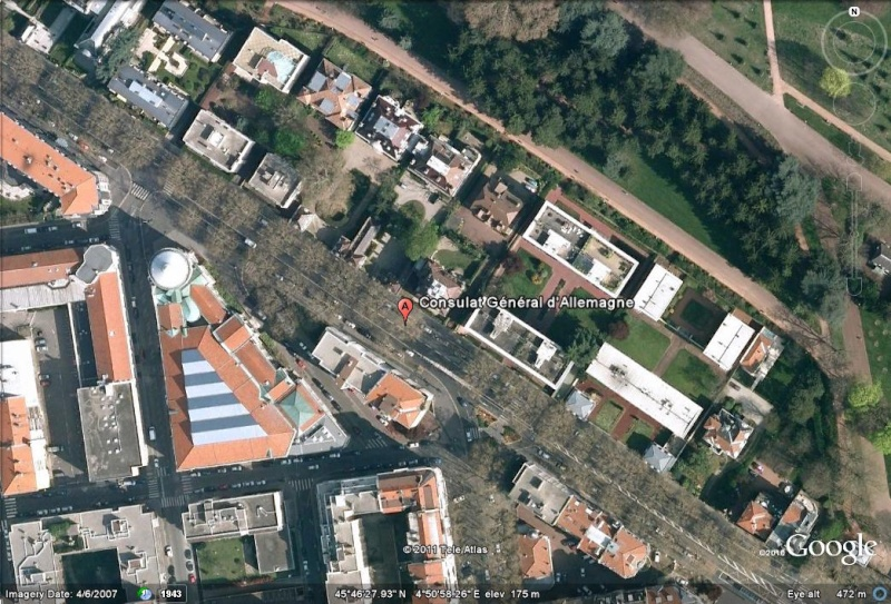 Les ambassades étrangères en France vues depuis Google Earth Allema15