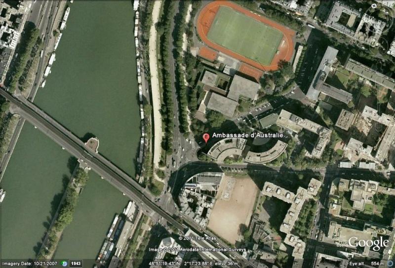 Les ambassades étrangères en France vues depuis Google Earth Austra11